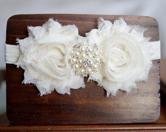 Ivory Shabby Flower Headband, Baby Headband, Newborn Headband, Adult Headband, Christening Headband, Baptism Headband, Wedding Headband