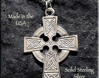 Sterling Silver Celtic Cross Pendant, .925 Silver Celtic Cross Pendant on Chain, Celtic Jewelry, SE-1911