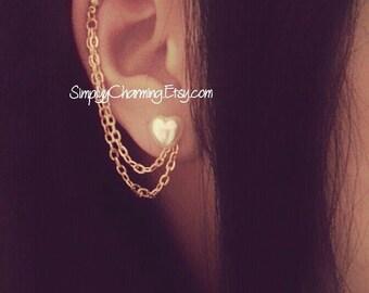 Pearl Heart Cartilage Chain Earrings Double Lobe Helix Ear Cuff Jewelry