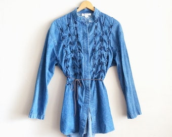50% OFF Spring Sale - Vintage Chambray Tunic with Yarn Detail