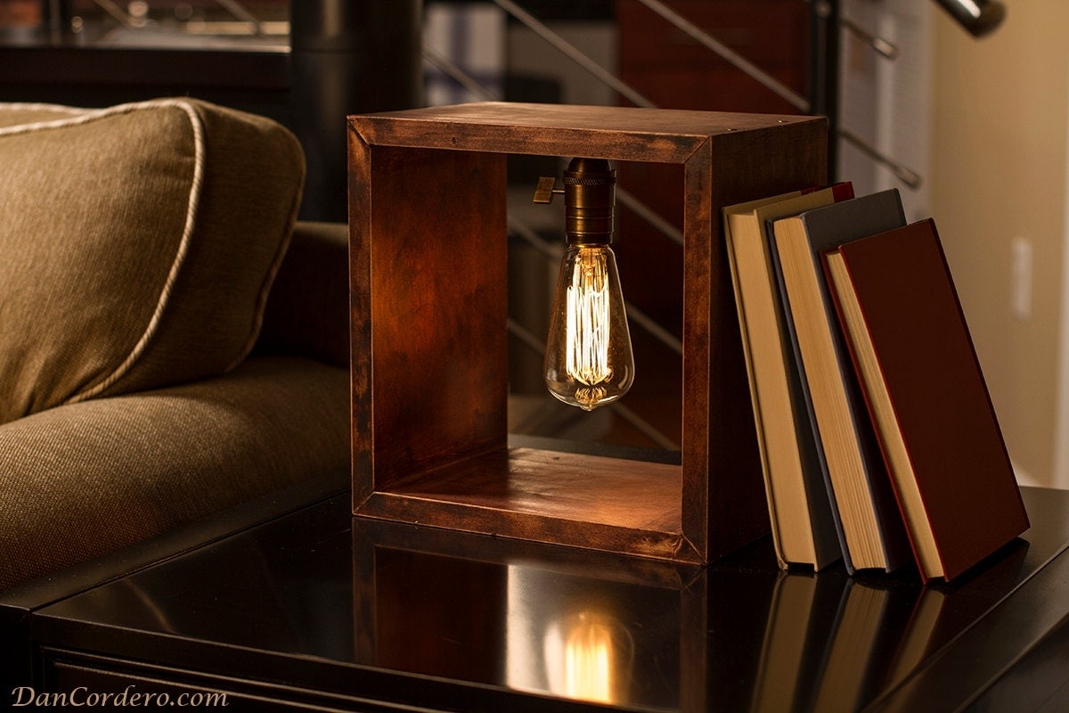 Shadow Box Edison Table Lamp Table Lamps Wood Lamps