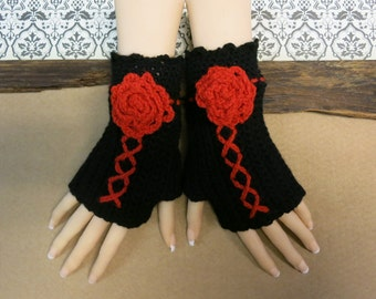 Crochet Fingerless Gloves, Black Corset Wool Gloves, Arm Warmers, Gothic Gloves, Black Red Burlesque Wrist Gloves, Australia