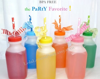 School Cafeteria MiLk & Juice BoTTles- set of 10  - 12 oz  Sized Party Favorite Bottle with Lids in Color Choice, Favors, Catering, Fairs