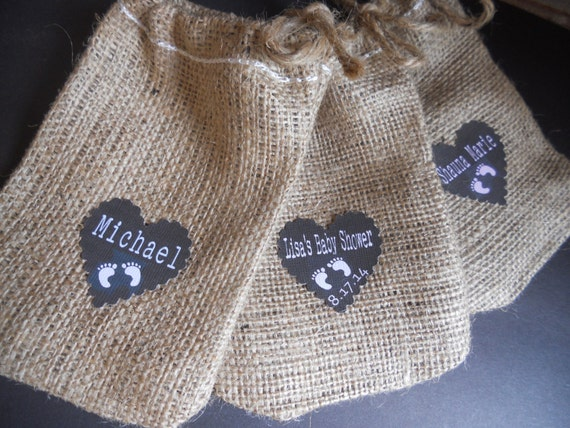 burlap favor bags burlap bags baby shower burlap by twenty3design. Black Bedroom Furniture Sets. Home Design Ideas