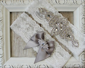 CUSTOMIZE Your Wedding Garter - Vintage Garter Set with Crystals & Rhinestones on Comfortable Lace, Bridal Garter Set, Crystal Garter Set