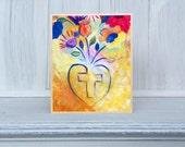 Wooden Art Block Giclee Art Print From Original Painting Faith Blossom Heart Blossoms  Decorative Home Decor FB004