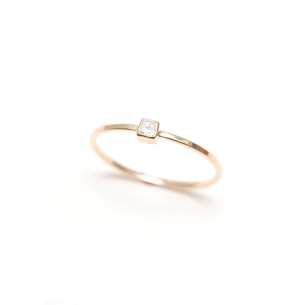 Princess cut diamond ring Simple engagement by ClaraChoJewelry