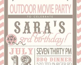 MOVIE PARTY outdoor movie invitation