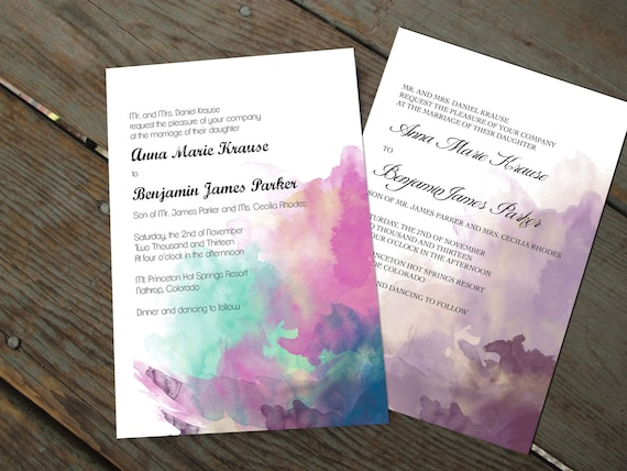 diy watercolor wedding invitations crafthubs How To Make Watercolor Wedding Invitations watercolor wedding invitation set traditional printable diy on how to make watercolor wedding invitations