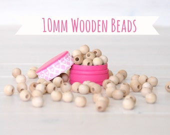 "10MM Wooden Beads - 50 or 100 Round Wooden Beads - 10MM Wooden Balls (3/8"") - Unfinished Wooden Beads - 10mm Wood Balls - DIY Wood Crafts"