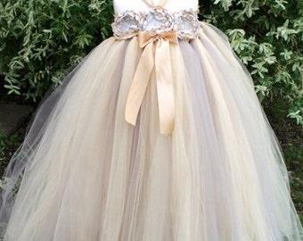 Beige Flower Girl Dress, Flower Girl Dresses, Jr Bridesmaid Dress, Girls Formal Dress, Tulle Wedding Dress, Tulle Flower Girl Dress