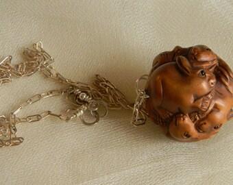 Netsuke rabbits ball pendant w sterling silver chain necklace , beaded jewelry , Japanese Boxwood Netsuke bead pendant , Netsuke jewelry