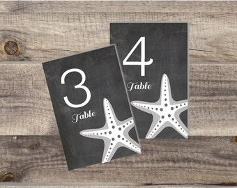 1-36 Instant Download - Chalkboard Beach Starfish Table Numbers - Modern Design DIY, Wedding reception (1-36), Starfish Table Number