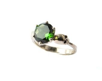 Skull Engagement Ring White Gold and Tourmaline Goth Wedding Ring Green Psychobillly Skull Ring Gemstone Memento Mori Ring for Woman