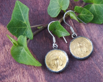 Gold Bee Earrings, Bee Jewelry,  18K gold - 925 Sterling Silver Coin Earrings