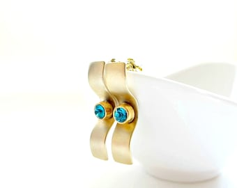 Gold Long Earrings/ Gold Rectangle Earrings/ Gold Emerald Earrings/ Emerald Earrings/ Delicate Earrings - Golden Girl