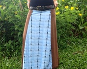 Long A-Line Skirt - Brown with Dragonfly Print
