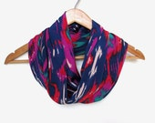 Fall Ikat Infinity Scarf // Navy Ikat // Ikat Fabric // Navy //Taupe // Red // Purple // Fall Fashion // August Trends // Accessories