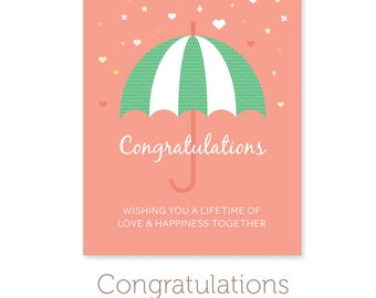 """Printable Wedding Shower Card - Instant Download Printable Wedding Card PDF - Congratulations Card - A2 Card 4.25"""" x 5.5"""""""