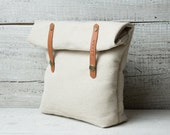 Personalized lunch bag for school work. Natural canvas cream color, genuine tan leather.