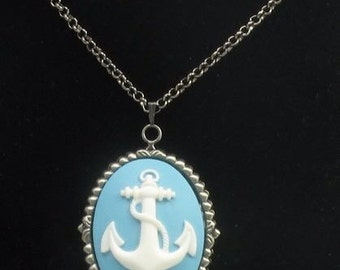 Turquoise blue anchor cameo necklace