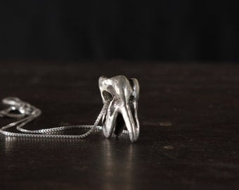 Sterling Silver Human Tooth Necklace (3-Prong Molar)