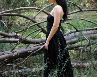Black Maxi Dress, Strapless Black Cotton Dress, Made to order