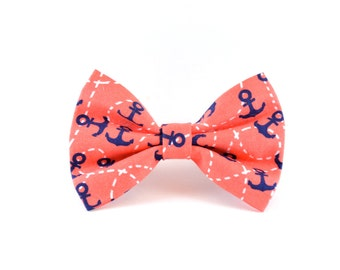 Coral Nautical Dog Bow Tie - Pink Salmon Anchor Sailor Navy and White Dog Bow Tie