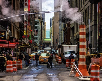 Midtown Manhattan Times Square Cityscape, Urban Street Photography, Fine Art, Orange, Smoke