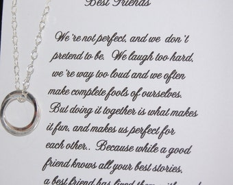 Set of Two BEST FRIEND Necklaces, Christmas gift, Friendship, Maid of Honor, Best Friend Poem , Birthday gift for Best friend