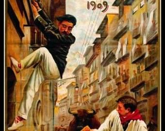 Art Print Spain Pamplona Bull-running 1909 Travel Poster - Print