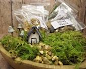 Medium Fairy Garden Contents Kit With Tiny House, Glow in the Dark Mushrooms and Lantern Live moss Terrarium Kit Handmade by Gypsy Raku