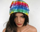 TIE DYE BEANIE Slouch Hat Slouchy Beanie Colorful Beanie Purple Beanie TShirt Beanie Tie Dye Hat Upcycled Clothing Upcycled Beanie