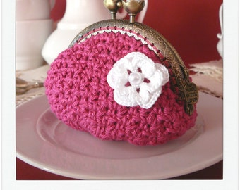 Pattern Crochet Coin Purse Squeeze Pinch Frame With Flower