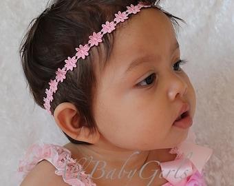 Pink Flower Headband, Baby Halo Headband, Baby Headband, Infant Headbands, Pink Baby Headband, Flower Headband Baby, Newborn Headband