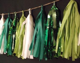 ONLY 14.99, 20 Tassel St Patricks Tissue Paper Garland, St Patricks Banner, Green, Kiss Me I'm Irish, Balloon Tassels, Party Decorations