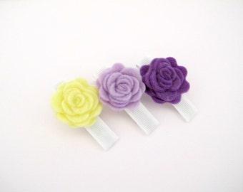 Flower Hair Clips/ Felt Flower Clip Set/ Trio Felt Flower Hair Clips/ Gift Set For Girls/ Purple Flower Hair Clips Set