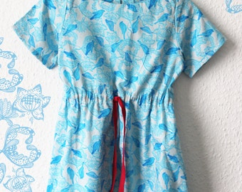 Dress for little girls in white and blue