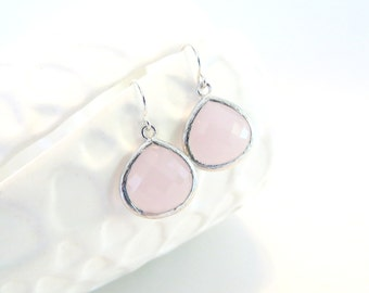 Blush Pink Earrings Sterling Silver Earrings Pink Drop Earrings Rose Quartz Pastel Pink Wedding Blush Bridesmaid Earrings Bridal Jewelry