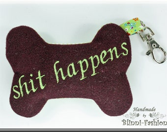 SH*T HAPPENS - Poop Bag - Bone, dog, dispenser, dark red, light green