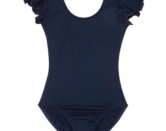 Navy Blue Leotard for Toddler & Girls with Flutter / Ruffle Short Sleeve READY TO SHIP