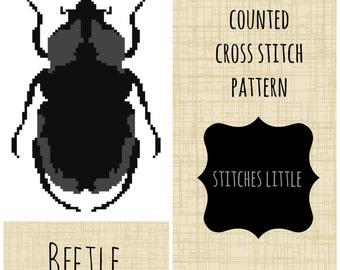 Modern Cross Stitch - Beetle Cross Stitch Pattern - Insect Cross Stitch - PDF Pattern - Instant Download