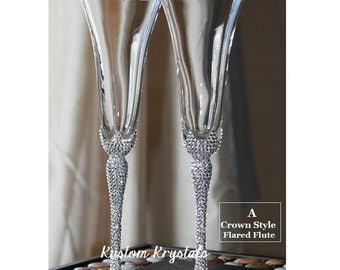 1 Pair Left!- Custom Swarovski Crystal embellished toasting flutes, toasting glasses, champagne flutes. weddings. custom. personalize.