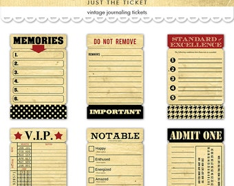Digital vintage style tickets /  journaling cards  / collage sheet / 6 designs / downloadable, printable ephemera