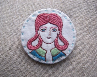 Embroidered Pin Badge Woman with Pink Hair
