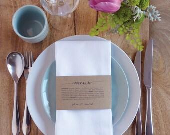 Wedding Menu, Napkin Wedding Menu Wrap, Printable file