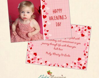 INSTANT DOWNLOAD 5x7 Valentine's Day Card Photoshop Template - CA428