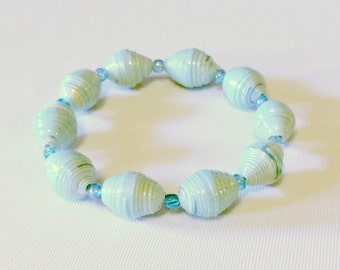Light Blue Paper Bead Bracelet First 1st Paper Anniversary Gift Ideas Her Mom Boho Chic Stack Wife Stretch Beaded Unique Repurposed Recycled