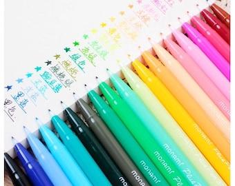Set of 24 Color Korean Cute Stationery DIY Painting Drawing Watercolor Marker Pen Brush for Text Liner, Scrapbook (PEN01)