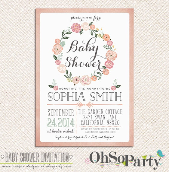 Adore Baby Custom Baby Shower Invitation Card Floral By